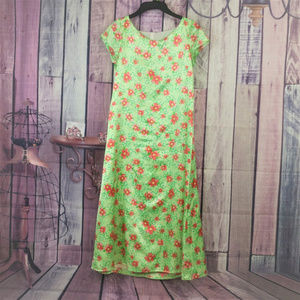 Other - Girls size XL green pink floral lined dress AD31